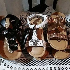 BEBE girl's sandals. 3 pair